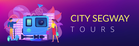 Businessman riding hoverboard on the city tour, shopper and action camera. City hoverboard tours, modern urban tourism, city tourist excursion concept. Header or footer banner template with copy space.