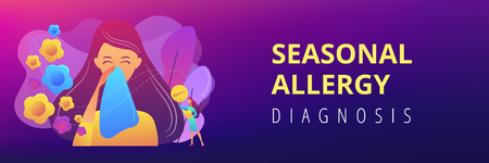 Female allergic to spring flowers sneezing and taking medicine. Seasonal allergy, seasonal allergy diagnosis, pollen allergy immunotherapy concept. Header or footer banner template with copy space.