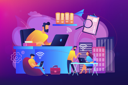 Businessmen use workspace with WiFi reserved on-demand for work, meeting. On-demand workspace, dedicated meeting room, business workspace concept. Bright vibrant violet vector isolated illustration 일러스트