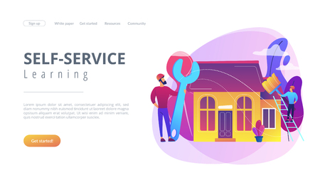 Handyman with big wrench repairing house and painting with paintbrush. DIY repair, do it yourself service, self-service learning concept. Website vibrant violet landing web page template.