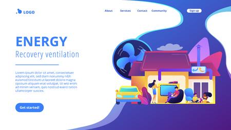 Famiglia con bambini in casa con sistema di ventilazione. Sistema di ventilazione, ventilazione a recupero di energia, concetto di pulizia del sistema di aerazione. Modello di pagina Web di destinazione viola vibrante del sito Web.