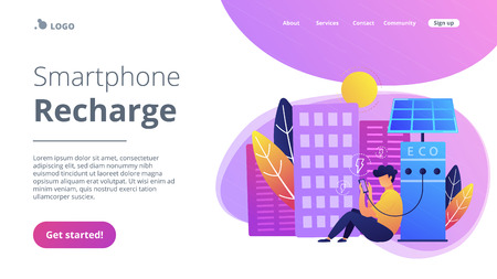 Man charges smartphone from solar recharge station. Ecological renewable charging systems, smart bus stops, IoT and smart city concept, violet palette. Website landing web page template.
