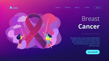 Doctor showing breast cancer awareness ribbon to the female patient. Breast cancer, women oncology factor, breast cancer prevention concept. Website vibrant violet landing web page template. Ilustração
