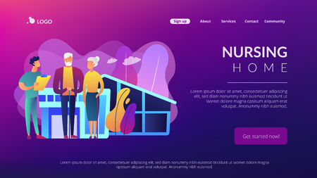 Skilled nurse and elderly people getting around-the-clock nursing care. Nursing home, nursing residential care, physical therapy service concept. Website vibrant violet landing web page template.
