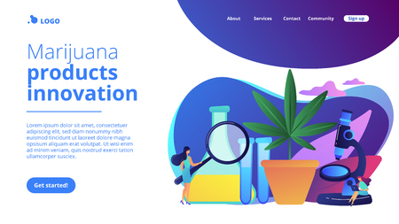 Scientists with magnifier doing cannabis innovations research. Marihuana products innovation, cannabis research, cannabinoid product science concept. Website vibrant violet landing web page template.