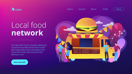 Business people at truck with burger eating fast food and drinking coffee. Street food festival, local food network, world cuisine festival concept. Website vibrant violet landing web page template.
