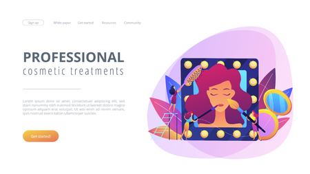 Specialists providing cosmetic treatment for woman face and hair. Beauty salon, beauty parlor, professional cosmetic treatments concept. Website vibrant violet landing web page template.