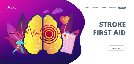 Huge brain with red circles pain epicenter and doctor running. Stroke and headache, oxygen-deprived brain and first aid concept on white background. Website vibrant violet landing web page template. Illusztráció