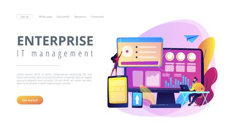 IT managers integrate technologies into business operations. Enterprise IT management, IT software solutions, enterprise architecture concept. Website vibrant violet landing web page template.