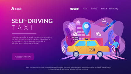 Businessman with smartphone taking driverless taxi with sensors and location pin. Autonomous taxi, self-driving taxi, on-demand car service concept. Website vibrant violet landing web page template. Stock Illustratie