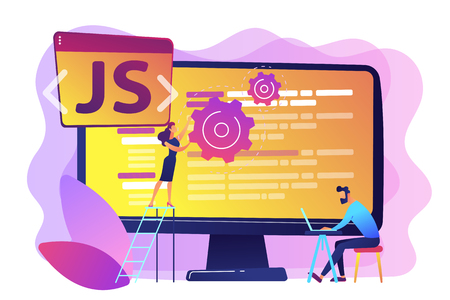 Programmers using JavaScript programming language on computer, tiny people. JavaScript language, JavaScript engine, JS web development concept. Bright vibrant violet vector isolated illustration
