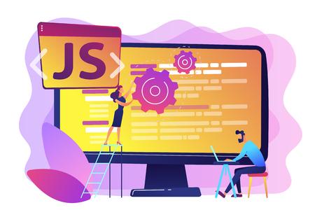 Programmeurs utilisant le langage de programmation JavaScript sur ordinateur, personnes minuscules. Langage JavaScript, moteur JavaScript, concept de développement Web JS. Illustration isolée de vecteur violet vif lumineux