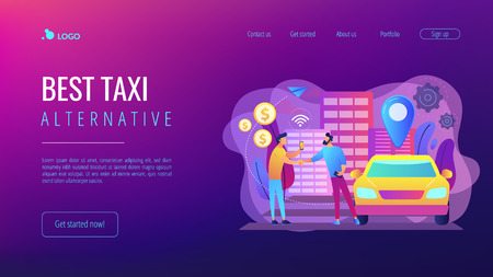 Businessman with smartphone rents a car in the street via carsharing service. Carsharing service, short periods rent, best taxi alternative concept. Website vibrant violet landing web page template. Stock Illustratie