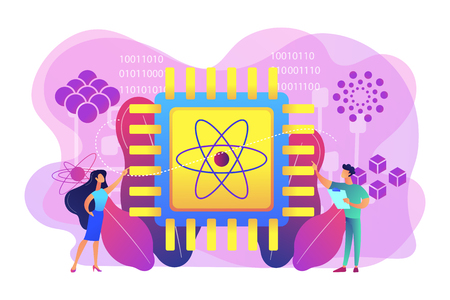 Tiny people engineer and scientist working with quantum computer chip. Optical technology, photonics research, quantum computing concept. Bright vibrant violet vector isolated illustration Illustration