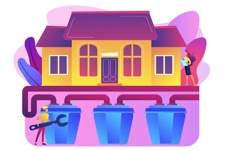 Maison avec tout-à-l'égout et plombier spécialiste avec clé. Système d'égouts, service des eaux usées domestiques, concept de technologies de système d'égout. Illustration isolée de vecteur violet vif lumineux Vecteurs