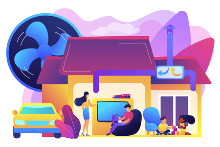 Family with children in house with air ventilation system. Ventilation system, energy recovery ventilation, airing system cleaning concept. Bright vibrant violet vector isolated illustration