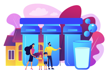 Family with kids use home purification filters to lower contamination. Water filtering system, home water treatment, water delivery service concept. Bright vibrant violet vector isolated illustration