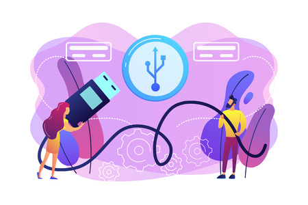 Businessman and woman choosing port to insert cable and USB symbol. USB connection, USB port standard, digital data communications concept. Bright vibrant violet vector isolated illustration Stockfoto - 125642869