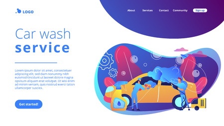 Auto wash attendants cleaning the exterior of the vehicle with special equipment. Car wash service, automatic carwash, self-serve car wash concept. Website vibrant violet landing web page template. Illustration