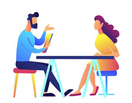 Arbeitgeber und Kandidat sprechen bei Vorstellungsgespräch-Vektor-Illustration. Vorstellungsgespräch und Beschäftigung, Geschäftstreffen und Rekrutierung, Personalmanager und Stellenangebotskonzept. Isoliert auf weißem Hintergrund. Vektorgrafik