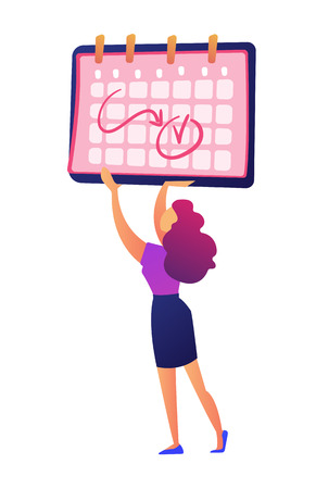 Businesswoman holding calendar with notes on dates vector illustration. Planning working month, shedule and time management, business planning and deadline concept. Isolated on white background. 向量圖像