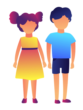 Cute preschool boy and girl standing together vector illustration. Preschool and children playing, childhood and playground, kinderdarten kids and playgroup concept. Isolated on white background. Stock Illustratie