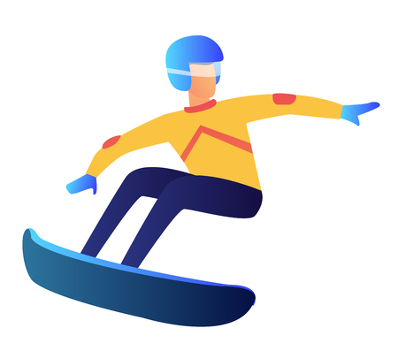Snowboarder riding vector illustration. Winter sport activity and active holidays, extreme winter sport, snowboarding freestyle and snowboard rider concept. Isolated on white background.