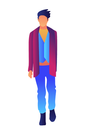Stylish handsome man walking in fashion clothes vector illustration. Male model and fashion show, designer clothes for men and runway, male fashion concept. Isolated on white background. Illusztráció