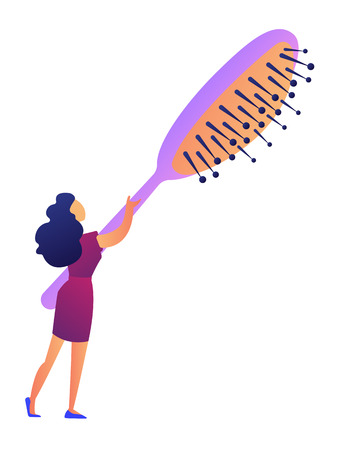 Woman holding a big hairbrush vector illustration. Beauty and style, glamour beauty salon and hairstyling, professional hairdresser and hairstyle concept. Isolated on white background.