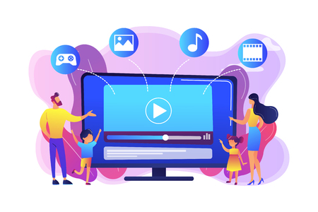 Tiny people family with kids watching smart television content. Smart TV content, smart TV interactive show, high resolution content concept. Bright vibrant violet vector isolated illustration