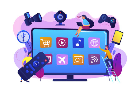 Tiny people using smart television connected to modern digital devices. Smart TV accessories, interractive TV entertainment, gaming TV tools concept. Bright vibrant violet vector isolated illustration