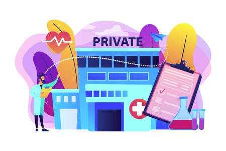 Doctor pointing at private healthcare center with medical services. Private healthcare, private medical services, health care center concept. Bright vibrant violet vector isolated illustration