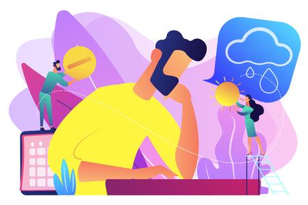 Businessman feeling bad with depressive symptoms, tiny people. Seasonal affective disorder, mood disorder, depression symptoms treatment concept. Bright vibrant violet vector isolated illustration