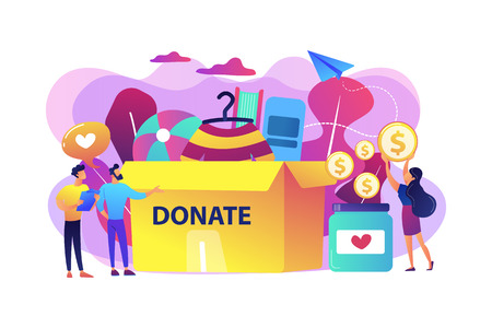 Los voluntarios recolectan bienes para la caridad en una enorme caja de donaciones y donan monedas en un frasco. Donación, fondos de donación de caridad, concepto de regalo en especie. Ilustración aislada de vector violeta vibrante brillante Ilustración de vector