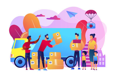 Team of volunteers giving help boxes to refuges and humanitarian aid van. Humanitarian aid, material assistance, governmental help concept. Bright vibrant violet vector isolated illustration