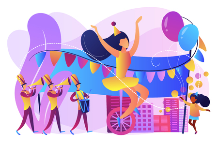 Parade of tiny people, clown, marching music band at national holiday or carnival. Parade, massive celebration, march procession of people concept. Bright vibrant violet vector isolated illustration