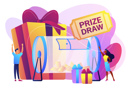 Lucky tiny people turning raffle drum with tickets and winning prize gift boxes. Prize draw, online random draw, promotional marketing concept. Bright vibrant violet vector isolated illustration
