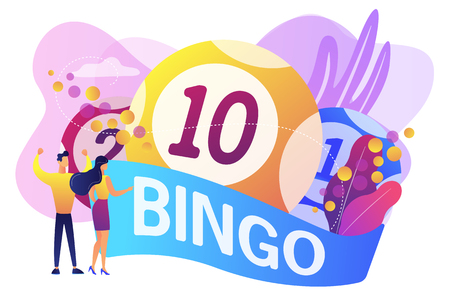Businessman and woman winners and bingo lottery balls with lucky numbers, tiny people. Lottery money game, lucky raffle ticket, bingo game concept. Bright vibrant violet vector isolated illustration 일러스트