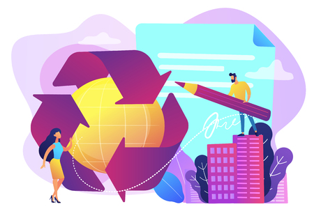 Specialists writing new mandatory recycling laws for country. Government mandated recycling, ecological regulations, local recycling laws concept. Bright vibrant violet vector isolated illustration