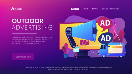Marketer with outdoor advertisements from loudspeaker and on the van. Outdoor advertising design, out of home media, outdoor advertising concept. Website vibrant violet landing web page template.