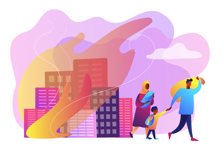 Tiny people refugee migrant family in destroyed city searching for new home. Refugees people, refugee crisis, forced displaced people concept. Bright vibrant violet vector isolated illustration
