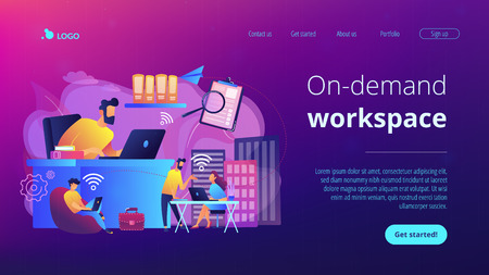 Businessmen use workspace with WiFi reserved on-demand for work, meeting. On-demand workspace, dedicated meeting room, business workspace concept. Website vibrant violet landing web page template.