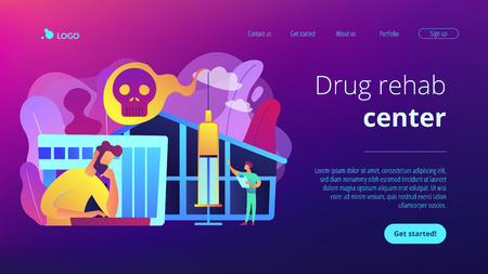 Patient getting medical treatment for dependency on psychoactive substances. Drug rehab center, experimental treatment, drug rehabilitation concept. Website vibrant violet landing web page template.