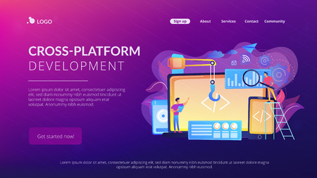 Engineer and developer with laptop and tablet code. Cross-platform development, cross-platform operating systems and software environments concept. Website vibrant violet landing web page template.