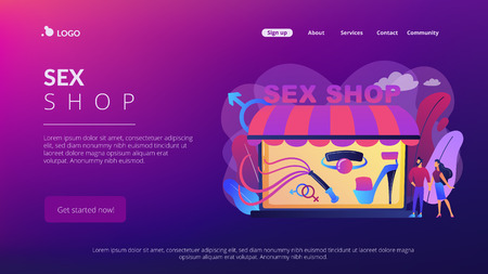 Couple shopping in adult shop with sexual entrtainment toys and accessories. Sex shop, online sex store, adult erotic products concept. Website vibrant violet landing web page template.