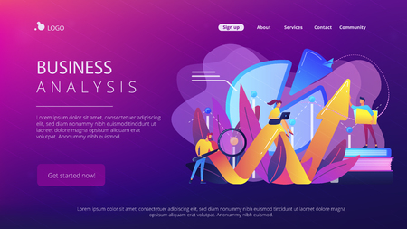 People recording analytics data of the IT project identifying business needs and determining solutions to business problems. Business analysis IT concept. Website landing web page template.