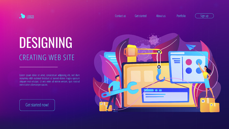 It professionals are creating web site on the laptop screen. Website development or web application, coding, designing for web browsers concept. Violet palette. Website landing web page template.