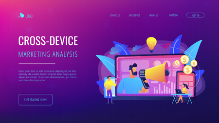 Marketer delivering ads with megaphone and devices. Cross-device marketing, cross-device marketing analysis and strategy concept on white background. Website vibrant violet landing web page template.