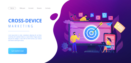 Concumers with devices get targeted ads and messages. Multi device targeting, reaching audience, cross-device marketing concept on white background. Website vibrant violet landing web page template. Vector Illustratie