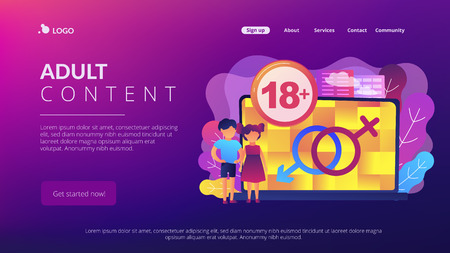 Children at laptop with adult content restriction for inappropriate video. Adult content, content notification, 18 age restriction concept. Website vibrant violet landing web page template.